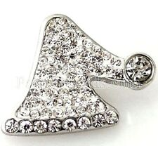 White Rhinestone Christmas Hat 20mm Snap Interchangeable Fits Ginger Snaps