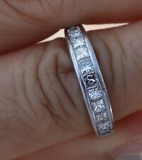 1.08ct G/VS princess invisible set platinum plat wedding anniversary band