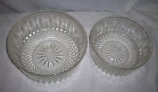 2 ARCOROC CRYSTAL CUT GLASS STARBURST SERVING BOWLS MADE IN FRANCE