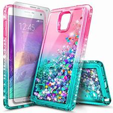 For Samsung Galaxy Note 4 Case Liquid Glitter Bling Phone Cover + Tempered Glass