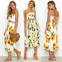 Women 2 Piece Bandeau Crop Top Bodycon Skirt Co Ord Set Holiday Beach Mini Dress