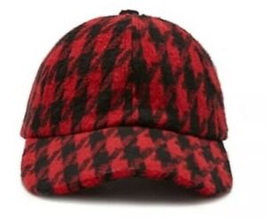 Soft Wool Blend Houndstooth Red & Black Strapback Baseball Cap Hat NEW