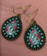 NEW Anthropologie Turquoise Beaded Floral Drop Earrings