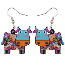 Acrylic Anime Cow Cattle Earrings Dangle Drop Farm Animal Jewelry For Women Gift