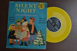 """Silent Night It Came Upon Midnight Clear Yellow 7"""" 45 Record VG+"""