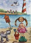 ACEO Contemporary Original Watercolour Painting Beach Hut~Dog~Girl