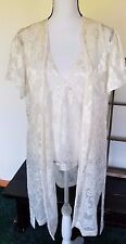 Womens Vtg Cinema Etoile Lingerie 3 Piece Robe Shorts Top Lace White L Bridal