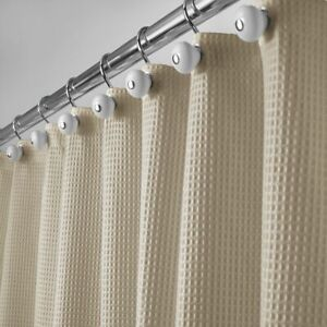 """mDesign Waffle Weave Fabric Shower Curtain - 72"""" Long - Dark Khaki"""