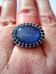 La Luna Kyanit Ring mit Saphire 925 Sterling Silber Gr.51 (16,2) Neu !!!