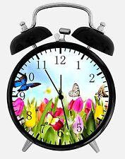 "Flowers Butterfly Alarm Desk Clock 3.75"" Home or Office Decor E162 Nice For Gift"