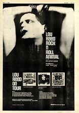 (Sds)11/5/1974Pg35 Album & Tour Advert 15x10 Lou Reed rock N Roll Animal