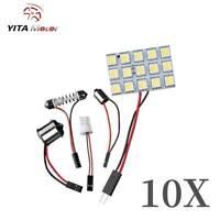 YITAMOTOR 10X White Led Interior Panel Light Bulb 1156 Festoon T10 BA9S Adapters