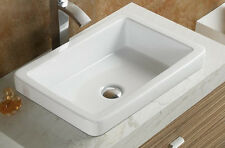 Elimax's SR-7444 Bathroom Semi-Recessed Ceramic Porcelain Vessel Sink /Drain