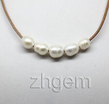 Natural White Pearl Necklace Brown Leather Gem Stone