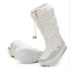 Womens Fur Lined Thermal Warm Winter Snow Boots Waterproof Knee High Boots Shoes
