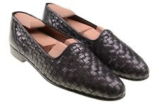 Brass Boot Made in ITALY Black Leather Woven Basketweave Loafers Shoes 10 D