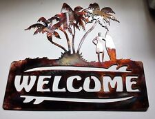 Palm Tree Surfer Welcome Sign Metal Wall Decor Copper/Bronze Plated