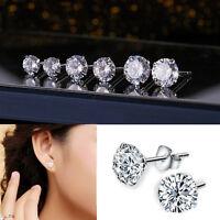Women Men  Cubic Zirconia Round Stud Earrings Genuine 925 Solid Sterling Silver