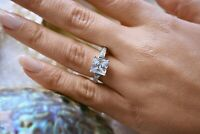 2.35 Ct Princess Cut 14K White Gold Solitaire W/Accents Engagement Wedding Ring