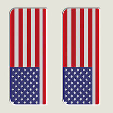2x USA United States Full Flag - Gel Domed Number Plate Badges/Decals 107x42mm