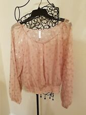 Xhilaration Women's Pink BLOUSE with Gold Circles Size XXL 100% Polyester