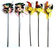 5x Stecker aus Holz Garten Deko Blumen Pflanzen Beet Sticker Stab 70er Jahr#S244