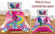 Trolls Movie Poppy+Branch Twin/Full Comforter +Pillow Sham Single/Double Bed Set