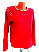 Pearl Izumi Womens Jersey Workout Top Long Sleeve Red Size L Made in USA Cycling