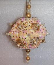 WHITE PEARLS & GOLD ACCENTS HANDMADE CHRISTMAS ORNAMENT - PINK, WHITE & GOLD
