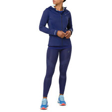 Asics Womens Accelerate Waterpoof Running Jacket Top Blue Sports Full Zip Hooded