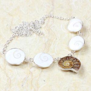 "Ammonite 925 Silver Plated Handmade Gemstone Necklace of 18"" Ethnic Gift"