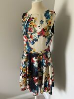 NWOT ModCloth Closet Fit & Flare Bright Floral Print Pleated Tank Dress - 16