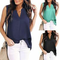 Solid Womens Loose Elegant Top Casual New O Neck V Neck Pullover Short Sleeve