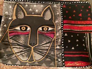 """NWT Laurel Burch """"Whiskered Cats""""~#LB5321B Canvas 9""""x6"""" Cosmetic Makeup Bag Cat"""