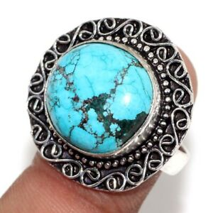 Turquoise Gemstone Ethnic Handmade Ring Jewelry US Size-7.5 JW