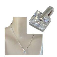Petit pendentif en argent massif 925 zirconium blanc carré bijou