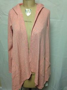Calvin Klein Performance Thermal Draped Hooded Cascading Cardigan Coral NWOT