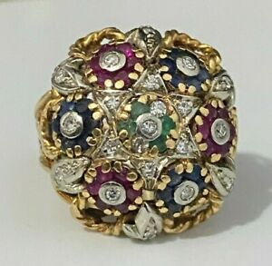 18K solid gold w/ Diamond Ruby Sapphire Bombé Cluster ring 11.90g size L - 5 1/2