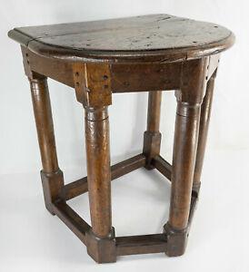 Antique 17th/18th English Georgian Oak Demi Lune Side Table Stool Columns Gothic