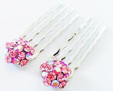 Mini Hair Comb Small Clear Swarovski ELM Crystal Bridal Wedding Silver Clip Pink