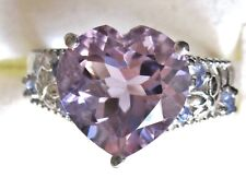 Rose de France & Tanzanite Heart Ring / size 8 /  925 Sterling Silver, 4.38cts