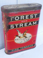 Original old litho tin advertising for  Forest and Stream Pipe Tobacco-