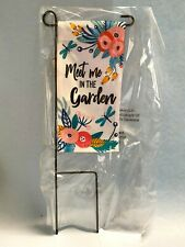 "Home Yard Decor- Mini Garden Flag Stake Meet Me In The Garden 8"" X 4"" X 13"" New"