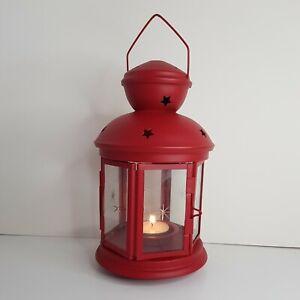 Red Star Metal & Glass Decorative Tea Light Holder Lantern
