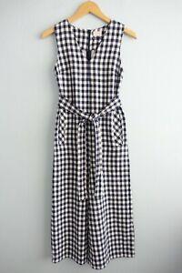 Gorman Summer 18 Sleeveless Belted Linen Blend Gingham Picnic Jumpsuit sz 6