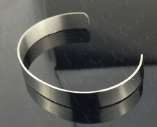 Men's High Polished Silver Tone Solid 316L Stainless Steel Blank Cuff Bracelet