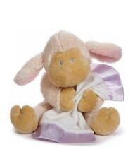 "Baby Ganz White Cream Pink Lamb Plush Holding Blanket Purple Bean 11"""