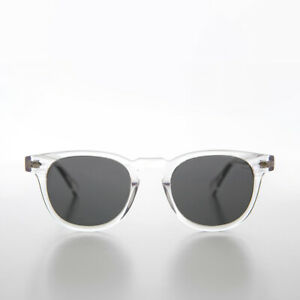 Clear James Dean Style Horn Rim Sunglasses Polarized Gray Lens - Benson