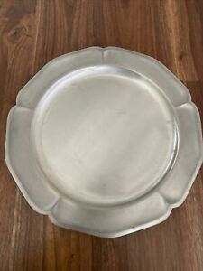 """INTERNATIONAL PEWTER 11-3/4"""" PLATE WITH SCALLOPED RIM."""