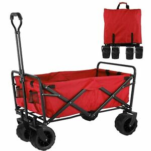 Heavy Duty Collapsible Outdoor Beach Garden Cart Utility Pull Wagon Grocery Cart